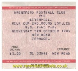 1983-84 lc2 1st BRENTFORD 1 LIVERPOOL 4 [nr]