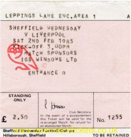 1984-85 div1 SHEFFIELD WEDNESDAY 1 LIVERPOOL 1 [1255]