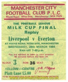 1984 lc final replay LIVERPOOL 1 EVERTON 0