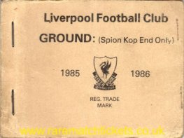 1985-86 div1 champions LIVERPOOL season ticket front cover