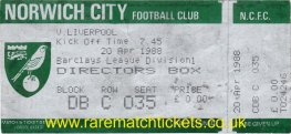 1987-88 div1 m35 NORWICH CITY 0 LIVERPOOL 0 (unused) [DIR BOX]