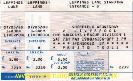 1987-88 div1 m38 SHEFFIELD WEDNESDAY 1 LIVERPOOL 5 (unused)