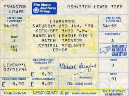 1987-88 div1 m29 DERBY COUNTY 1 LIVERPOOL 1 (unused)