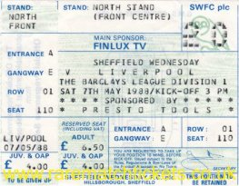 1987-88 div1 m39 SHEFFIELD WEDNESDAY 1 LIVERPOOL 5 (unused)