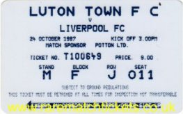 1987-88 div1 m10 LUTON TOWN 0 LIVERPOOL 1