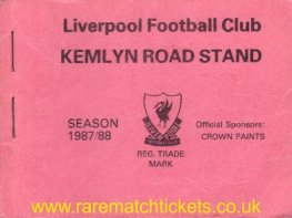 1987-88 div1 KEMLYN RD season ticket front cover
