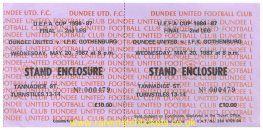 1987 uefa final 2nd DUNDEE UTD 1 IFK GOTHENBURG 1 (unused)