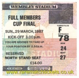 1987 fmc final BLACKBURN ROVERS 1 CHARLTON ATHLETIC 0