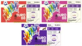 1988 ec ENGLAND 3 ticket set