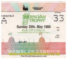 1988 flt [sherpa van] final WOLVERAMPTON W 2 BURNLEY 0