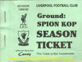 1989-90 div1 champions LIVERPOOL season ticket front cover