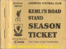 1989-90 div1 KEMLYN RD season ticket front cover