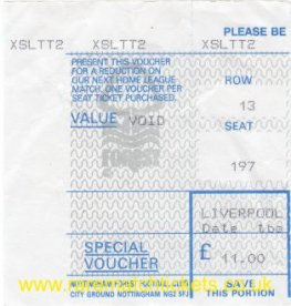 1990's? NOTTINGHAM FOREST LIVERPOOL (stand seat £11.00)