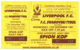 1991-92 uefa r3 2nd LIVERPOOL 4 SWAROVSKI TYROL 0 (unused) [kop