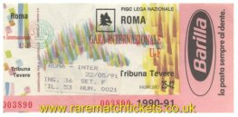 1991 uefa final 2nd ROMA 1 INTERNAZIONALE 0 (unused)