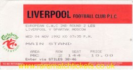 1992-93 cwc r2 2nd LIVERPOOL 0 SPARTAK MOSCOW 2