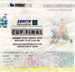 1992 fmc [zds] final NOTTINGHAM FOREST 3 SOUTHAMPTON 2