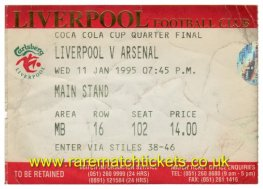 1994-95 qf LIVERPOOL 1 ARSENAL 0