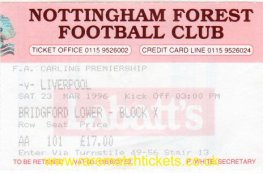 1995-96 EPL NOTTINGHAM FOREST 1 LIVERPOOL 0