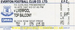 1996-97 epl EVERTON 1 LIVERPOOL 1 (unused)
