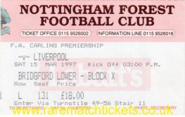 1996-97 EPL NOTTINGHAM FOREST 1 LIVERPOOL 1
