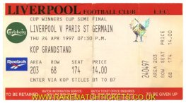 1996-97 cwc sf2 LIVERPOOL 2 PARIS ST GERMAIN 0 (unused) [kop]