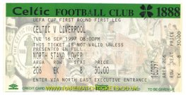1997-98 uefa r1 1st CELTIC 2 LIVERPOOL 2 (unused)