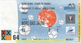 1998 wc final FRANCE 3 BRAZIL 0 PERSONALISED