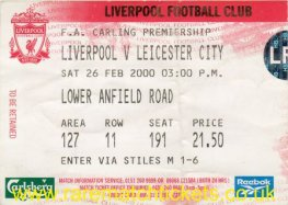1999-00 EPL LIVERPOOL 0 LEICESTER CITY 2