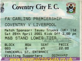 2000-01 epl COVENTRY CITY O LIVERPOOL 2