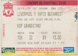 2000-01 uefa r1 2nd LIVERPOOL 0 RAPID BUCHAREST 0 [kop]