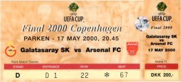 2000 uefa final GALATASARAY 0 ARSENAL 0 (unused) PERSONALISED