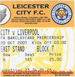 2001-02 EPL LEICESTER CITY 1 LIVERPOOL 4