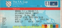 2002 fac final ARSENAL 2 CHELSEA 0 (unused) PERSONALISED