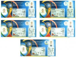 2002 wc ENGLAND 5 ticket set