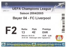 2004-05 cl r16 2nd BAYER LEVERKUSEN 1 LIVERPOOL 3 (unused)