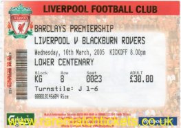 2004-05 EPL LIVERPOOL 0 BLACKBURN ROVERS 0