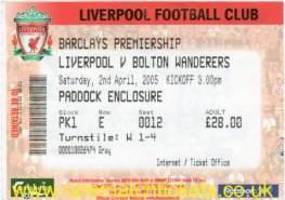2004-05 EPL LIVERPOOL 1 BOLTON WANDERERS 0