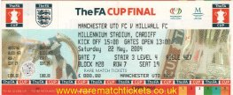 2004 fac final [MANCHESTER UTD] 3 MILLWALL 0 (un) PERSONALISED