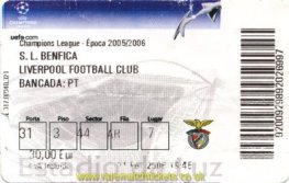 2005-06 CL R16 1st BENFICA 1 LIVERPOOL 0 (credit card)