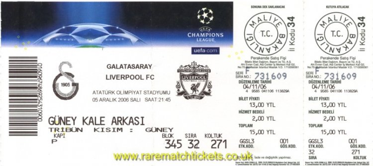 2006-07 CL GrC M6 GALATASARAY 3 LIVERPOOL 2 (unused)