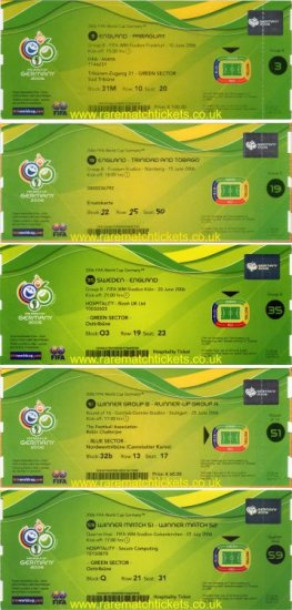 2006 wc ENGLAND 5 ticket set