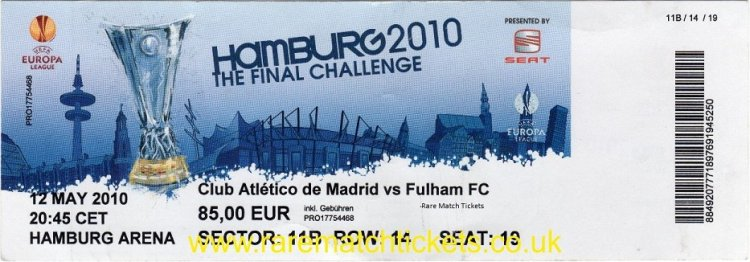 2010 el final ATLETICO MADRID 2 [FULHAM] 1 (unused) PERSONALISED
