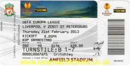 2012-13 el l32 2nd LIVERPOOL 3 ZENIT ST PETERSBURG 1 (unused)