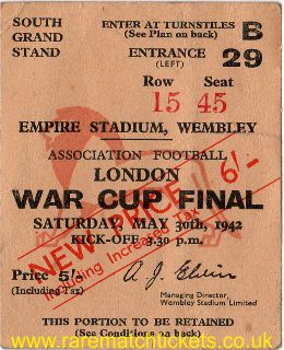 1942 london war cup final BRENTFORD 1 PORTSMOUTH 0