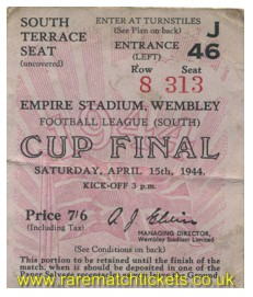 1944 fl south cup final CHARLTON ATHLETIC 3 CHELSEA 1