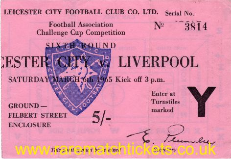 1964-65 fac6 LEICESTER CITY 0 LIVERPOOL 0