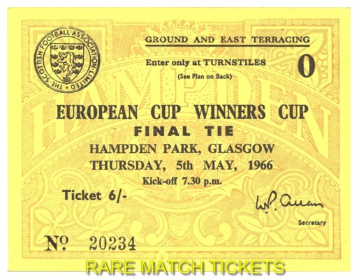 1966 cwc final BORUSSIA DORTMUND 2 LIVERPOOL 1 (unused)