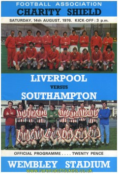 1976 charity shield LIVERPOOL 1 SOUTHAMPTON 0