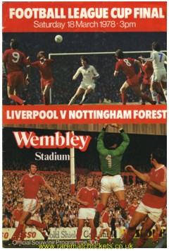 1978 LC final NOTTINGHAM FOREST 0 LIVERPOOL 0